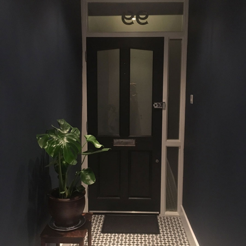 Hallway Painted in Stiffkey Blue Farrow and Ball