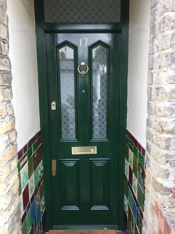 Frond Door Painted in British Racing Green