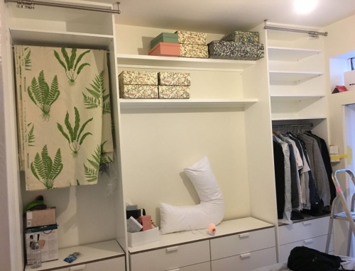 Open wardrobe and shelves